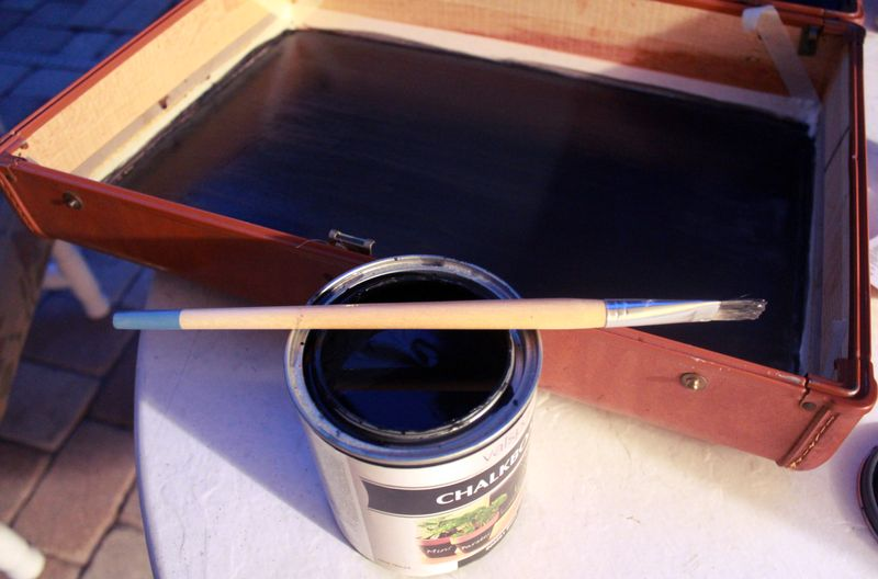Painting The Inside Of The Suitcase Chalkboard